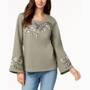 Style Co Olive Green Cotton Embroidered Sweatshirt